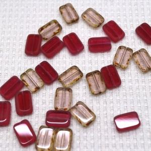 チェコガラス テーブルカット レクタングル 12×8mm  5ヶ入|sumaccessory