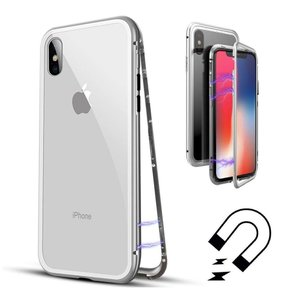 iPhoneケース iPhone XS X MAX XR ケース カバー アルミ バンパー 背面ガラス バックプレートマグネット式 磁気 充電対応 スマホケース 耐衝撃 全面保護|sumahoselect