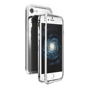 iPhone 8 ケース カバー アルミ バンパー 背面ガラス バックプレートマグネット式 磁気 充電対応 スマホケース  耐衝撃 全面保護|sumahoselect