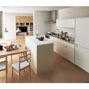 Panasonic Lクラス キッチン I型壁付け+ハッチ家電収納ハイカウンタープラン l-class_plan17|sumai-diy