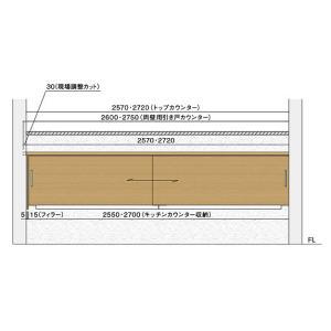 住友林業クレスト ハッピー収納 キッチンカウンター収納 両壁納まり 幅2550mm PLAN2 SBKH1RK**-255|sumai-diy