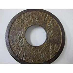 南部鉄製 瓶敷き(草花)14cm