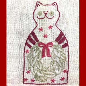 ネコのクリスマスカード 東京キルト&ステッチショー2019ワークショップ|sun-k