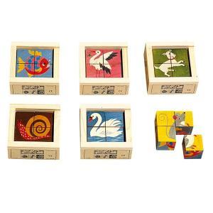 アトリエフィッシャー 六面体パズル・4pcs・アニマルカラー AF405 知育玩具|sun-wa