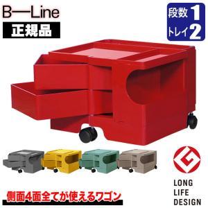 ワゴン キャスター付き おしゃれ 引き出し 正規品 ビーライン(B-LINE) ボビーワゴン(BobyWagon) 1段2トレイ ボニーブルー b-wagon1002-BB|sun-wa