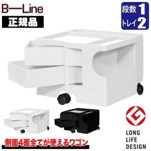 ワゴン キャスター付き おしゃれ 引き出し 正規品 ビーライン(B-LINE) ボビーワゴン(BobyWagon) 1段2トレイ ブラック b-wagon102-BK sun-wa