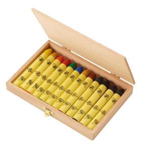 エコノーム ミツロウクレヨン・12色セット・木箱入 EK53002 知育玩具 クレヨン 安全 赤ちゃん 蜜蝋 プレゼント