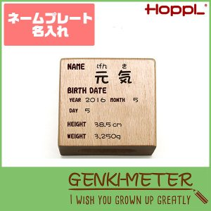 HOPPL(ホップル) GENKI-METER ゲンキメーター ネームプレート 名入れ 木製 GE-NAME|sun-wa