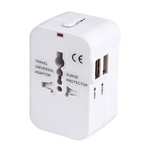 Home 海外安全旅行充電器 コンパクトな コンセント 2USBポート変換プラグ 電源プラグ 旅行ア...