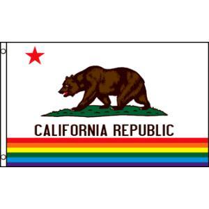 アメリカンフラッグ カリフォルニアレインボーフラッグ 3×5ft(150×90cm) メール便可 C...