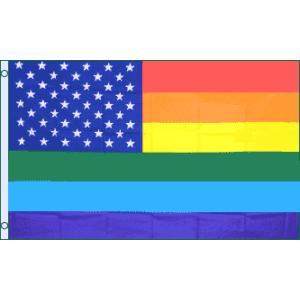 アメリカンフラッグ 星条旗レインボーフラッグ 3×5ft(150×90cm)メール便可 USA Ra...