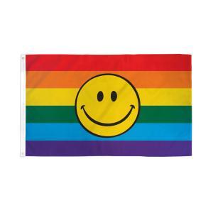 アメリカンフラッグ スマイルレインボー フラッグ Rainbow Happy Face Flag