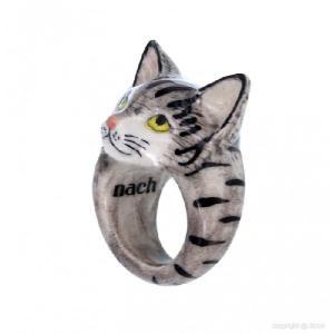 Nach ぶちグレー猫 ナッシュ アニマルリング タビーキャット tabby cat ねこ ネコ 指輪|sunday-brunch