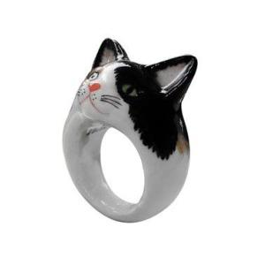 Nach 白黒猫 ナッシュ アニマルリング ねこ ネコ cat 指輪 送料無料|sunday-brunch