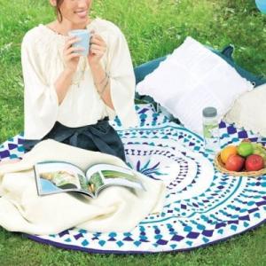 【サークルタオル12枚入り】 SNS 敷物 日 ベッドカバー ソファカバー 幾何学模様 おしゃれ ブルー 涼しげ アウトドア ビーチ|sunfield-silica