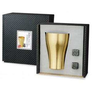 【金色のタンブラー&アイスストーンセット1個入り】 進呈 ギフト 逸品 ゴールド 飲み物 冷やす 氷 セット sunfield-silica