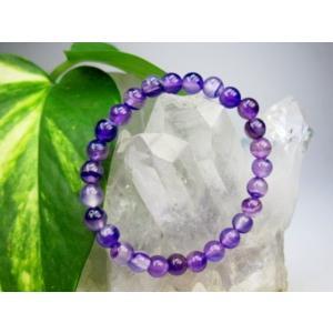 訳あり 均一ブレスレット 紫縞メノウ 熱処理 Φ6.2±0.2mm