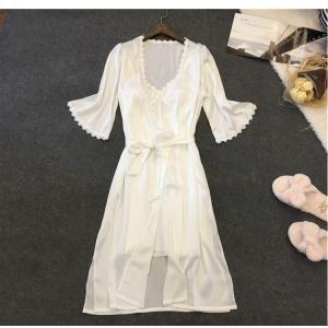 二点パジャマ レディース セットアップ パジャマ シルクパジャマ ルームウェア 絹パジャマ 前開き 婦人用|sunflower-y
