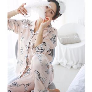 パジャマ レディース 可愛い 色気 セットアップ 前開き 婦人用 パジャマ シルクパジ  ャマ ルームウェア 絹パジャマ 部屋着 寝巻き|sunflower-y