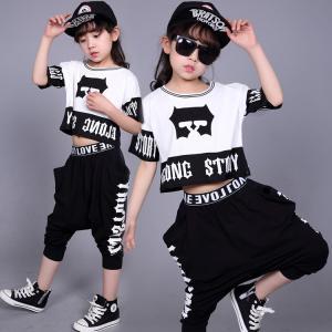 キッズ ダンス衣装  ヒップホップ HIPHOP ダンストップス 子供 女の子 男の子 セットアップ ジャズダンス 演出服 練習着 ステージ衣装|sunflowerhouse