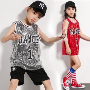 キッズ ダンス衣装  スパンコール キラキラ チア  子供 ヒップホップ スパンコール衣装 hiphop Tシャツ ジャズダンス衣装 ステージ衣装 演出服 練習着|sunflowerhouse