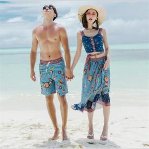 水着 カップル水着 ペアルック レディース ビギニ タンクトップ パッド付き ドレス メンズ ショットパンツ 紫外線カット 花柄 体型カバー 海 4点セット sunflowerhouse