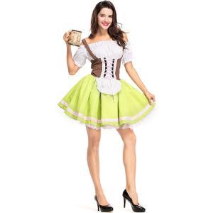 ハロウィン レディース コスプレ ビールガール ドイツ 民族衣装 ウェーター メイド服 ビール祭り 女性用  パーティー変装 コスチューム 仮装 ワンピース|sunflowerhouse