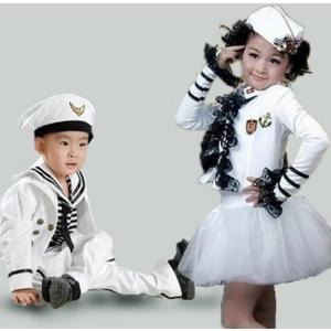 キッズダンス衣装  海軍 水兵コスプレ 海軍 コスチューム 女の子 男の子 ワンピース 海軍 コスプレ衣装 ハロウィン 衣装  コスプレ衣装 仮装 海軍 軍人|sunflowerhouse