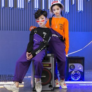キッズダンス衣装 ヒップホップ セットアップ HIPHOP 子供  男女 サロペット ダンストップス ダンスパンツ 練習着 ジャズダンス ステージ衣装