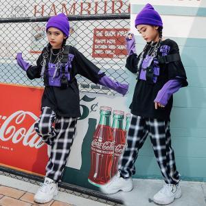 キッズダンス衣装 ヒップホップ HIPHOP  セットアップ ジャケット チェック シャツ チェックパンツ 子供 男の子 女の子 ジャズダンス 練習着 ステージ衣装  sunflowerhouse
