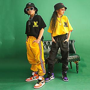 キッズ ダンス衣装 ヒップホップ 子供 HIPHOP  Tシャツ ダンストップス パンツ ジャズダンス チェック柄  練習着  体操服 ステージ衣 sunflowerhouse