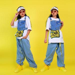 キッズダンス衣装 ヒップホップ HIPHOP セットアップ ベスト デニム  Tシャツ パンツ ズボン ジーンズ 子供 男の子 女の子 ステージ衣装 練習着 sunflowerhouse