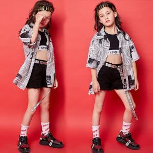 キッズ ダンス衣装  HIPHOP ヒップホップ チェック柄 セットアップ チア 子供  ガールズ ダンスシャツ ショートパンツ ジャズダンス ステージ衣装  練習着|sunflowerhouse