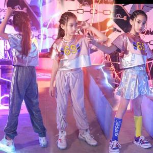 キッズ ダンス衣装 ヒップホップ スパンコール HIPHOP キラキラ チア  スカート ダンスパンツ 子供  女の子 ガールズ ジャズダンス ステージ衣装 練習着|sunflowerhouse