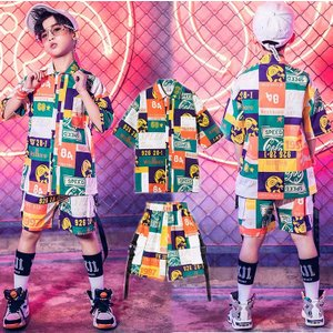 キッズダンス衣装 ヒップホップ  HIPHOP セットアップ ダンスシャツ ダンスパンツ 子供 男の子 女の子 ガールズ チア ジャズダンス ステージ衣装 練習着 sunflowerhouse