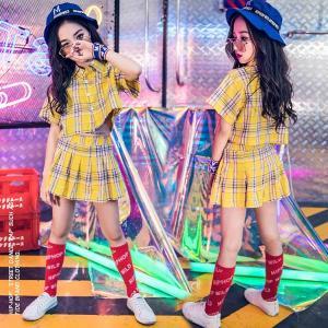 キッズダンス衣装 ヒップホップ セットアップ チアガール  チェック HIPHOP  女の子 チェックシャツ スカート チアリーダー ジャズダンス ステージ衣装  応援団|sunflowerhouse