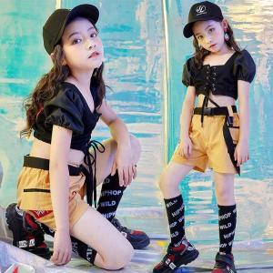キッズ ダンス衣装 ヒップホップ HIPHOP チア チアガール セットアップ ダンストップス ショートパンツ 子供  女の子 ガールズ ステージ衣装 練習着|sunflowerhouse