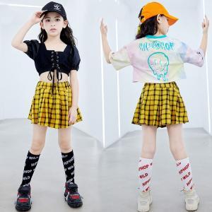 キッズダンス衣装 ヒップホップ HIPHOP チェック チア チアガール セットアップ ダンストップス スカート イエロー 子供  女の子 ガールズ ステージ衣装 練習着|sunflowerhouse