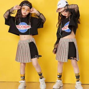 キッズダンス衣装  チアガール ヒップホップ HIPHOP チェック柄 チア セットアップ メッシュ トップス スカート ガールズ 子供  女の子 ステージ衣装  練習着|sunflowerhouse