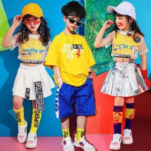 キッズ ダンス衣装  ヒップホップ HIPHOP チアガール  キラキラ チア セットアップ メッシュ タンクトップ スカート ガールズ 子供 スパンコール   練習着|sunflowerhouse