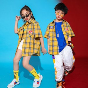 キッズダンス衣装  HIPHOP ヒップホップ チェック柄 セットアップ  チェックシャツ パンツ 子供 男の子 女の子  チア ジャズダンス ステージ衣装 練習着 体操服|sunflowerhouse