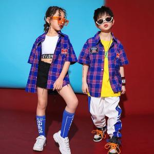キッズ ダンス衣装  ヒップホップ  HIPHOP チェック柄 セットアップ  チェックシャツ パンツ ズボン 子供 男の子 女の子  チア  ステージ衣装 練習着 体操服|sunflowerhouse