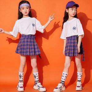 キッズ ダンス衣装  ヒップホップ  チアガール  チェック柄  セットアップ HIPHOP チア チェックスカート Tシャツ ガールズ 子供 ジャズダンス 練習着 応援|sunflowerhouse