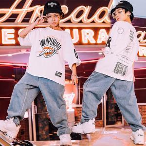 キッズ ダンス衣装  HIPHOP ヒップホップ  キッズダンス衣装  セットアップ トップス  デニムパンツ  ズボン 子供  男の子 女の子 ステージ衣装  練習着