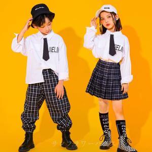 キッズ ダンス衣装 セットアップ HIPHOP ヒップホップ 子供 シャツ トップス 長袖 チェック...