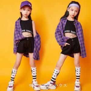 キッズ ダンス衣装 ヒップホップ HIPHOP セットアップ チェック柄  チェックシャツ 子供 女の子 タンクトップ パンツ シャツ ステージ衣装 練習着 演出服|sunflowerhouse