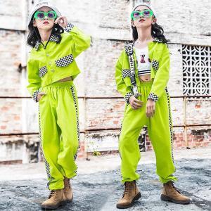 キッズ ダンス衣装 ヒップホップ  HIPHOP 子供服 セットアップ チェック 長袖 ジャケット タンクトップ パンツ  女の子 チアガール 練習着 演出服