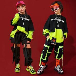 ヒップホップ キッズ ダンス衣装 HIPHOP セットアップ 子供服 長袖 トップス ジャケット パンツ 長ズボン 男の子 女の子 チアガール 体操服 練習着
