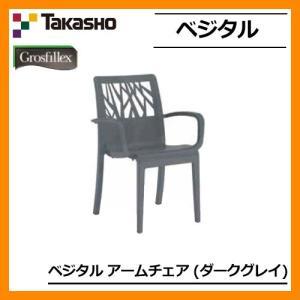 ガーデンファニチャー ガーデン チェア ベジタル アームチェアー ダークグレー GRS-AC01DG 31482900 TAKASHO 椅子 屋外用 家具 送料別|sungarden-exterior