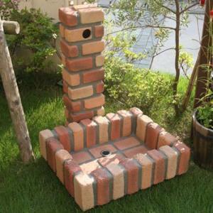 レンガ風NEW水栓柱カバー ガーデンパンセット FRP製 レンガ調 水洗柱ユニットセット 78813 送料無料 sungarden-exterior